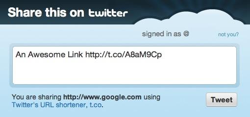 Auto Tweet Example Screenshot