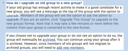 Facebook Upgrade FAQ Screenshot