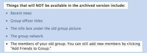 Facebook Archived Groups Specifics