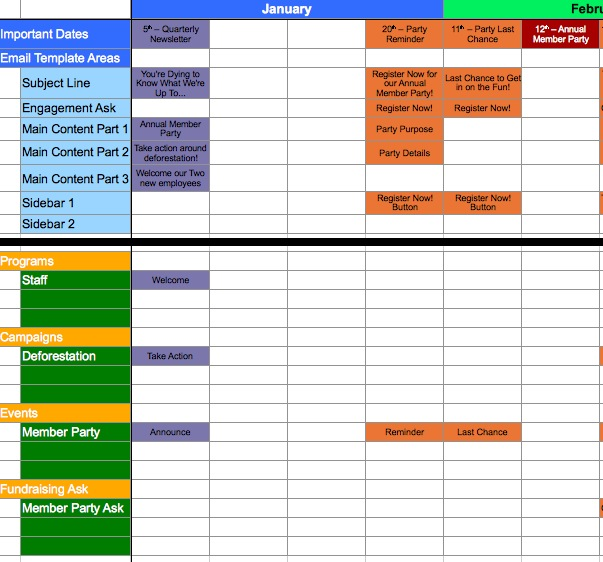 A template for calendaring your messaging for Campaign schedule template