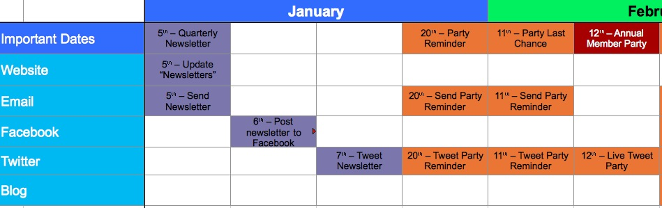 A Template For Calendaring Your Messaging Aspiration - Nonprofit communications calendar template