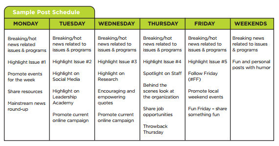 Social Media Toolkit Released By Greenlining - Facebook posting schedule template